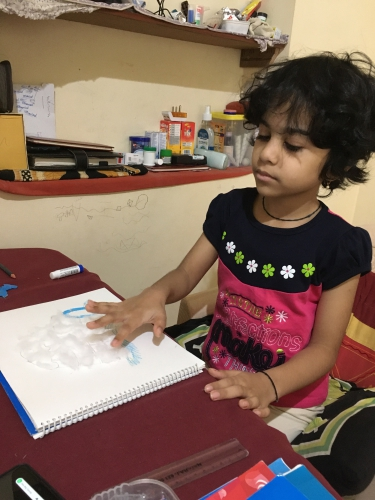 Montessori-Cotton pasting Activity photos